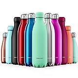 Proworks Bottiglia Acqua in Acciaio Inox, Senza BPA Vuoto Isolato Borraccia Termica in Metallo per Bevande Calde per 12 Ore & Fredde 24 Ore, Borraccia per Sport e Palestra - 1 Litre - Menta Polvere