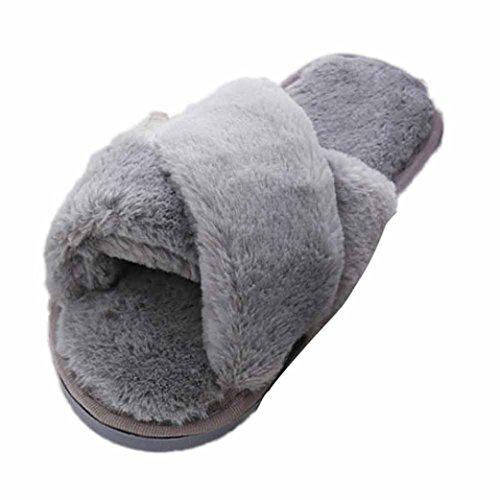 Dorame Infradito da Donna, Pantofole Morbide Inverno Ciabatte Calde Peluche Morbido Interno Antiscivolo per Donna - Sudore Grigio