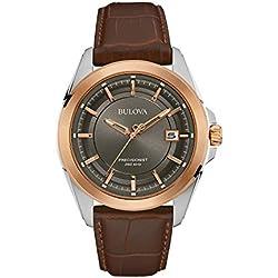 Bulova Precisionist 98B267 - Reloj de pulsera de diseño para hombre - Correa de cuero - Color oro rosa