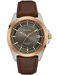Bulova Precisionist 98B267 - Montre-bracelet de créateur - pour homme - bracelet en cuir - rose doré