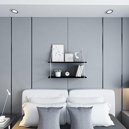 Wandregal aus Metall und Holz, Schwarz, 2-Fächer Klein Bücherregal, Regale für die Wand, Belastbar bis 23 kg, 40 x 15 x 60 cm (Garage Organisation Wand)