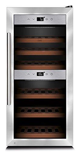 CASO WineComfort 24 Design Weinkühlschrank für bis zu 24 Flaschen (bis zu 310 mm Höhe), zwei Temperaturzonen 5-20°C, Getränkekühlschrank, Energieklasse A