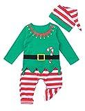 YiZYiF 3 Stück Baby Jungen Mädchen Weihnachten Kostüm Weihnachtself Cosplay Langarm Shirt + Hosen + Weihnachtsmütze Xmas Elf Outfit 0-18 Monate Grün 80-86