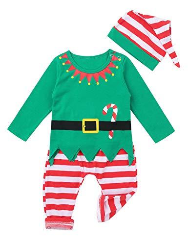 iixpin Weihnachten Kostüm Baby Mädchen Kleidung Set Elfen-Kostüm Langarm Shirt Obterteil & Lang Gestreifter Hose & Hut Cosplay Outfits Gr. 50-86 Grün 74-80/9-12 Monate