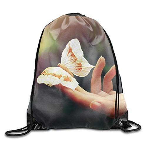 uykjuykj Tunnelzug Rucksäcke, Butterfly at Hand Sackpack Drawstring Backpack Waterproof Gymsack Daypack for Men Women Butterfly at hand7 Lightweight Unique 17x14 IN -