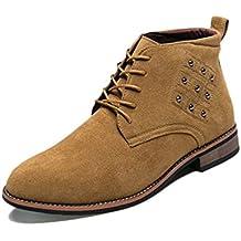 Botas de Hombre Relajado Coche Costuras Suela de Goma Tacon Caliente Desgaste Apretado Martin Cordones Zapatos