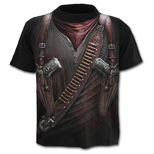 XJWDTX Herren Sommer Rundkragen 3D Digital Print T-Shirt Kurzarm Fashion Herren Kurzarm 3d Jack