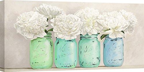 Art Print Cafe - Kunstdruck auf Leinwand - Blumen - Jenny Thomlinson, Pfingstrosen in Mason Jars (détail) - 70x35 cm (In Jars Mason Blumen)