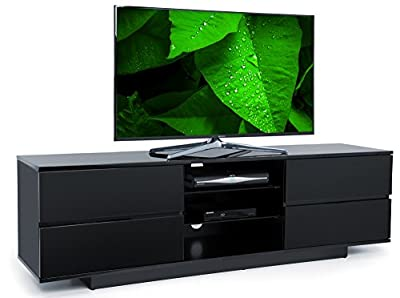 "Centurion Avitus Gloss Black with 4-Black Drawers & 3-Shelf 32""-65"" LED/LCD/Plasma Cabinet TV Stand"