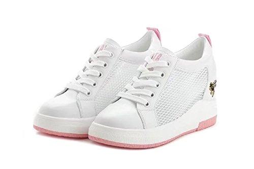Sportliche Trainer Damen Plateau Sneaker-Wedges Low-Top Sneakers Keilabsatz Fur Sommer Pink