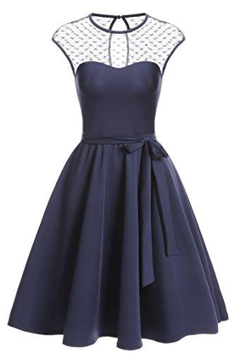Zeagoo Elegant Damen Kleider Kurzarm Retro Vintage 50er Jahr Sewing Rockabilly Kleid Cocktailkleid...