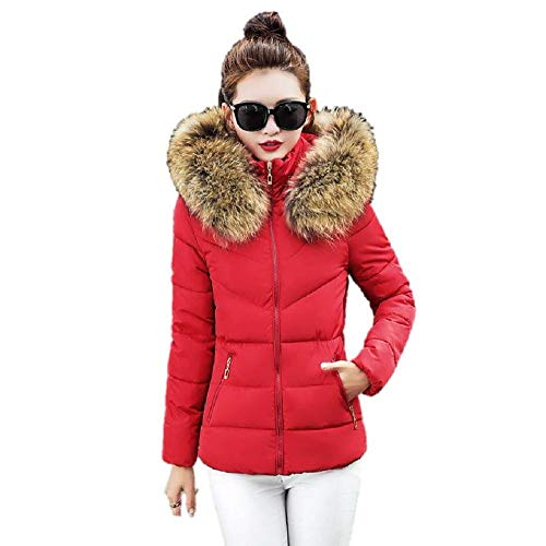 Theshy Damen Winterjacke Wintermantel Lange Daunenjacke Jacke Outwear Frauen Winter Warm Daunenmantel Arbeiten Sie festen beiläufigen dickeren dünnen Mantel um (S, Rot 2)