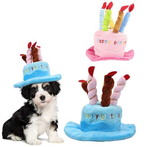 AMAZOIN 2 Pack Hund Geburtstag Hut Kuchen Kerzen Design Party Kostüm Zubehör Headwear Katze Hund Haustier Happy Birthday Party Hut und Bunte Kerzen Design Cosplay Kostüm