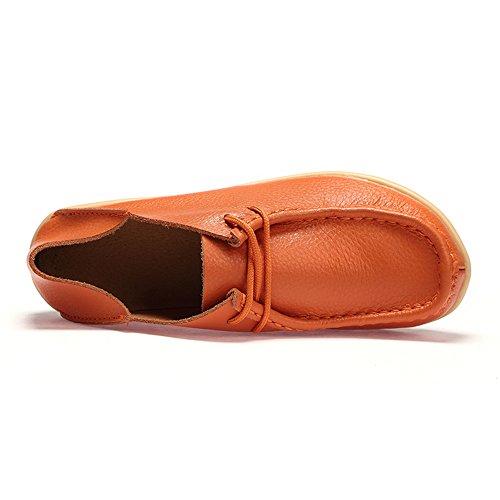 In Comode Arancione Scarpe Pelle Mocassini Su Donna Donna Da Mocassini Slip Casual Da Earsoon gUWOxXP
