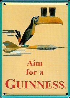 Guinness-Mini Targa in lamiera Cartolina-Aim for a Guinness-8x 11cm Nostalgia Retro scudo Metal tin sign