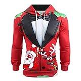 KPILP Herren Weihnachten Pullover 3D Druck Kaputzenpullover Hoodie Männer Long Sleeve Sweatshirt Christmas Tops Freizeit Jumper Schneemann Pullover