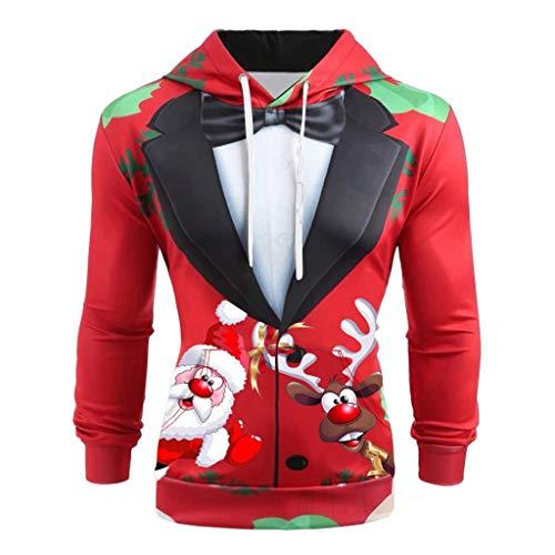 ODRD Christmas Herren Hoodie Weihnachtspullover - Unisex 3D Ugly Fake Anzüge Sweatshirt Sweater - Hässliche Pulli Lustig Weihnachtspulli Damen Weihnachtsparty (Cartoon Elch)