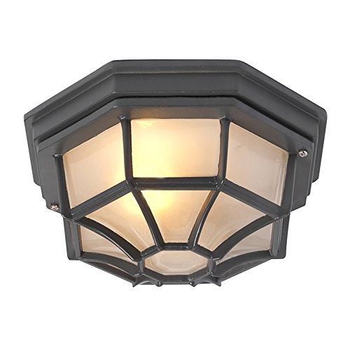 QAZQA Rustique Plafonnier Bri L gris foncé Aluminium/verre Anthracite Rond/Extérieur/Jardin/Luminaire/Lumiere/Éclairage