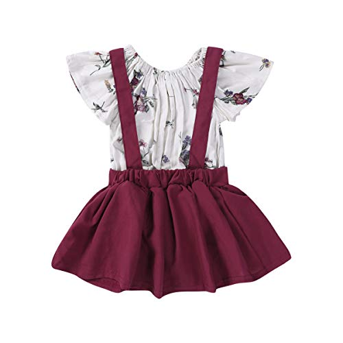 Kleinkind Kleinkind Baby Mädchen Ostern Tag Kleidung Set Kurzarm Plissee Schulter Rosa Tops + Floral Rock Baumwolle Outfit Set 2 Stück 0,5-4 Jahre (12-18 Monate, Weinrot) (Rosa Outfit Rock)