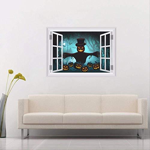 qwerdf 3D Fake Window Scared Bat Sky Pumpkin Scarecrow Forest Wall Sticker Für Halloween Party Decoration Bar Club Wanddekorationen