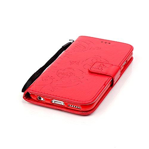 iPhone 6 Plus/6S Plus Hülle,iPhone 6 Plus/6S Plus Schutzhülle Linvei Handy Tasche Schutz Hülle im Bookstyle für iPhone 6 Plus/6S Plus Wallet Case mit Standfunktion mit Standfunktion Kartenfächer mit W Rot