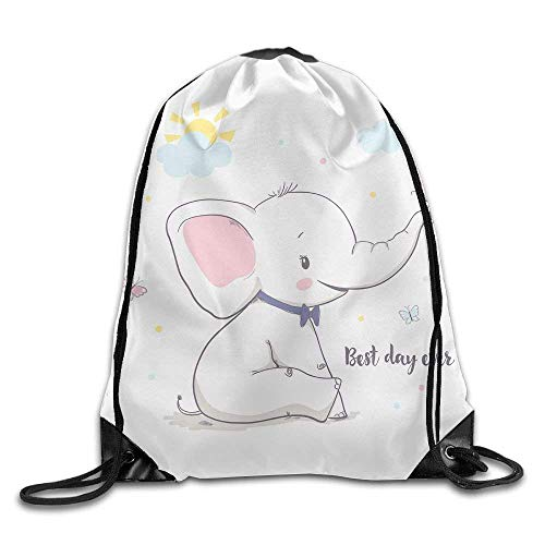 fengxutongxue Little Elephant with Butterfly Drawstring Backpack Travel Bag Gym Outdoor Sports Portable Drawstring Beam Port Backpack for Girl Boys Woman Female