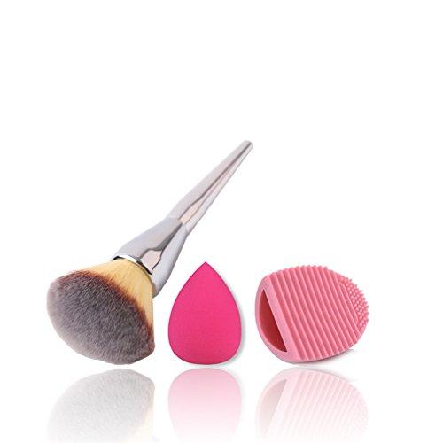 Blender Reiniger Pro Beauty (JasCherry Pro 1 Stück Make Up Pinselset + 1 Schwamm Puff + 1 Silikon Pinsel Reiniger - Professionellen Kosmetik Schmink-pinselset für Foundation Concealer Lidschatten etc.)