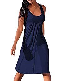927f9b313 PAOLIAN Vestido para Mujer Verano Casual Sexy Vestido Sin Tirantes Fiesta  Sólido Plisada Vestido Sin Manga Suelto Cuello Redondo…