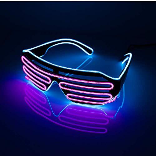 EONHUAYU LED Party Brille, Flashing Shutter Neon Leuchtende Gläser Neon EL Wire Shutter Gläser mit 4 Modi für Nachtclubs, DJ, Konzert, Halloween, Geburtstagsfeiern