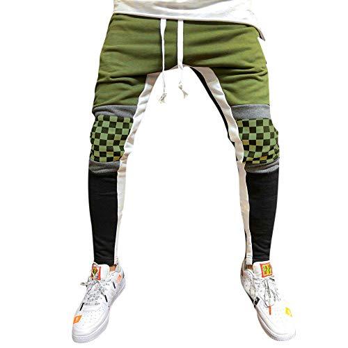 Byeel Herren Colorblock Streifen Sporthose Track Hosen Teen Jungen beiläufige dünne Stretch Athletisch laufende Jogginghose (Armeegrün, XL) Colorblock Track Pant