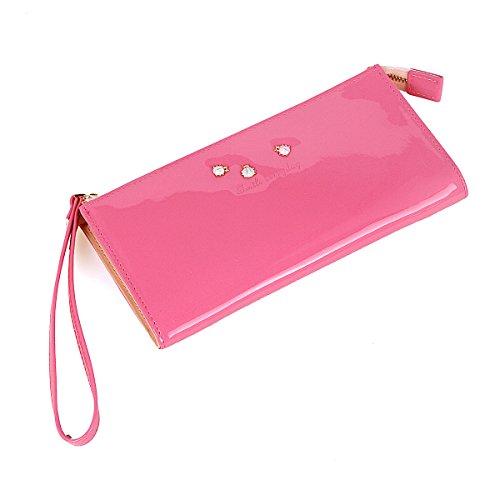 Damara ragazze Sweet decorazione in metallo con cerniera Wristlet Borse Pink