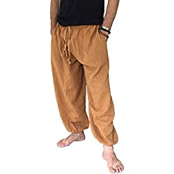 Love Quality Amor Calidad Baggy–Pantalones de escalada para hombre talla única algodón harén pantalones hippie Boho pantalones - Anaranjado -