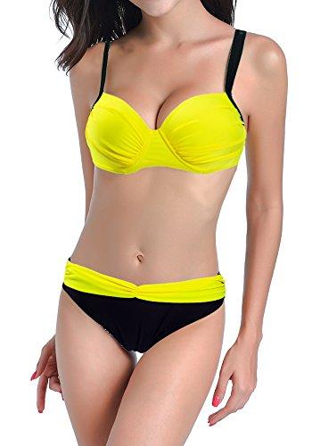 DODOING Damen Bikini Push Up Gepolstert Streifen Tupfen Triangel Brasilianische Bademode Bikini-Sets (Boyshort Pyjama)