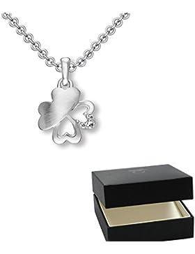 Kleeblatt Anhänger Glücksbringer Anhängerkette Silber 925 Zirkonia inkl. Luxus-Etui + Halskette mit Kleeblatt...