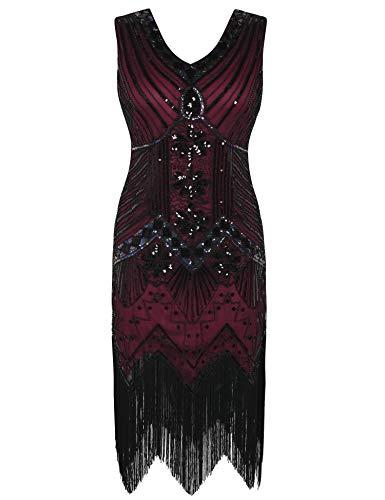 PrettyGuide Damen 20er Jahre Charleston Kleid Pailletten Franse Cocktail Gatsby Kleid S/EU36-38 Rot