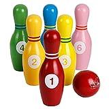 Juego de Bolos para niños Juego de Bolos de Madera de Colores con números Juegos de Bolos para Deportes en Interiores y Exteriores Juguetes educativos para niños pequeños