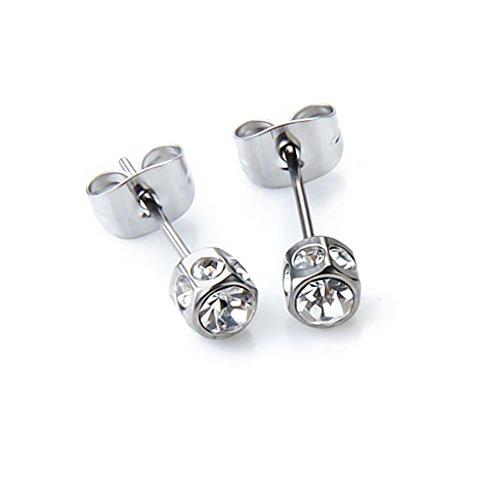 2pcs Hombre Pendientes Aretes Diamante Acero Amante Regalo Mens Earring Ear Stud