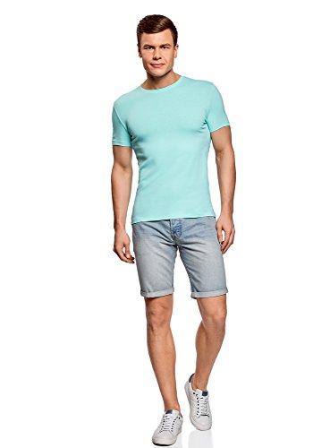 oodji Ultra Herren Tagless T-Shirt Basic (5er-Pack) Mehrfarbig (1900N)