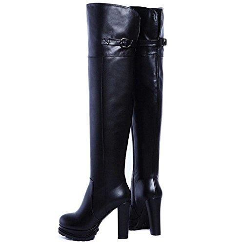 COOLCEPT Damen Warm gefüttert Blockabsatz Plateau Reißverschluss stiefeletten über kniehohe Stiefel Schwarz