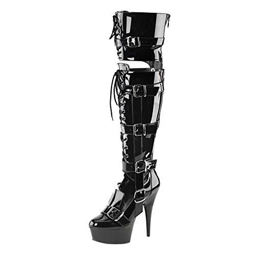 Damen Heels Overknee High Schwarz schwarz BvqUxxE