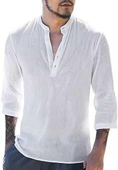 9e186171ad4a8 Hibote Camisa Hombre Blusa Suelta Casual Transpirable Top de Manga 3 4  Camisas Sin Cuello