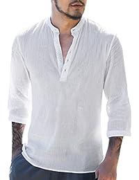 Hibote Camisa Hombre Blusa Suelta Casual Transpirable Top de Manga 3/4 Camisas Sin Cuello de Color Sólido Blusas de Trabajo S M L XL 2XL