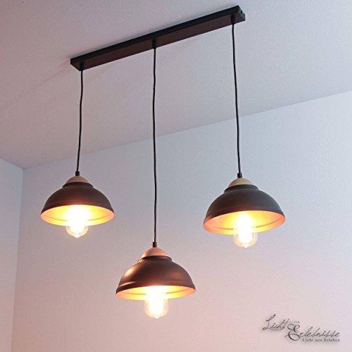 Innen-hängeleuchte (Geschmackvolle Hängeleuchte in Schwarz 3x E27 bis zu 60 Watt 230V aus Metall & Holz Küche Esszimmer Pendelleuchte Hängelampe Pendellampe Beleuchtung innen)