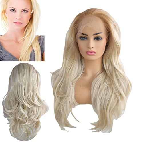 Solike Femmes Perruques Longues à Cheveux Ondulés Blonde Perruque Avec Lace devant Synthétique Résistant à la Chaleur des Femmes Cosplay Party