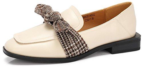 CAMEL CROWN Damen Loafer Frühling Flache Slipper Hahnentritt Schleife Schuhe Klassisch für Bequem Casual Schwarz Beige ()