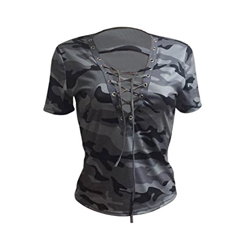 Coolster Damen V-Ausschnitt Camouflage Print Tops Sommer Kurzarm Shirt Dünn Casual Bluse (Tag L, Grau)