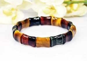 Schönes Armband in drei Farben Tigerauge in Bambusform