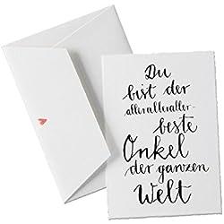Du bist der allerallerallerbeste ONKEL der Welt, als Geburtstagskarte oder allgemeine Grußkarte als Dankeschön an den besten Onkel der Welt, klassisch mit Herz - Umschlag