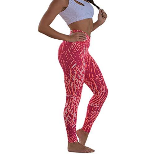 XZDCDJ Lange Yogahose Damen High Waist Skinny Hose Frauen Digital Printed Tight Sports Fitness Laufen Yoga Hosen(Rot,S) - Antwort Capri Tight