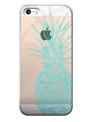 BigBen Connected Coque semi-rigide pour iPhone 5/5S/SE Transparente avec Motif Ananas Bleu Fluo